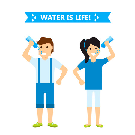Beautiful couple girl and boy happiness childhood young cute person drink water woman and man vector illustration