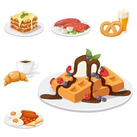 유럽 맛있는 음식 요리 맛있는 요소를 보여주는 저녁 음식 플랫 벡터 일러스트 레이 션.