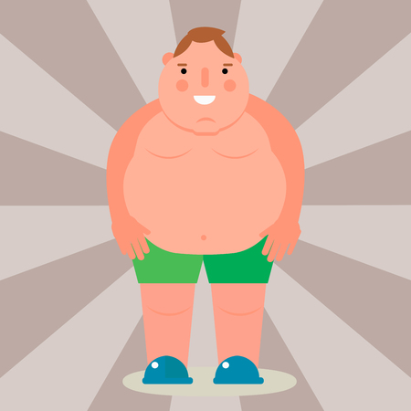 Fat man vector flat illustration overweight body person unhealthy big belly character. Çizim