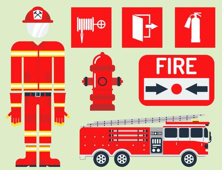 Quipement de sécurité incendie outils d'urgence pompier sécurité danger protection contre les accidents illustration vectorielle. Banque d'images - 80816646