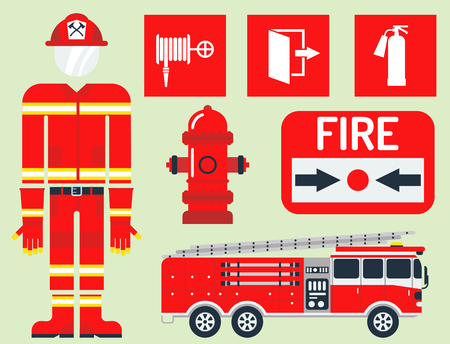 Fire safety equipment emergency tools firefighter safe danger accident protection vector illustration. Illustration