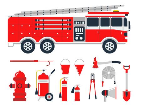 安全装置緊急ツール消防安全危険事故保護ベクトル図を起動します。  イラスト・ベクター素材