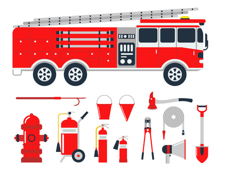 Fire safety equipment emergency tools firefighter safe danger accident protection vector illustration. Stock Illustratie