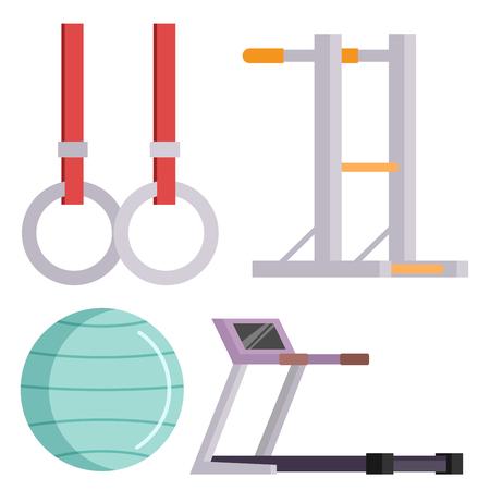 Fitness club de gimnasio vector iconos athlet y el deporte de la actividad del cuerpo herramientas wellness dumbbell equipo Foto de archivo - 80846512