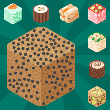 East delicious dessert isolated sweets food confectionery homemade assortment vector illustration