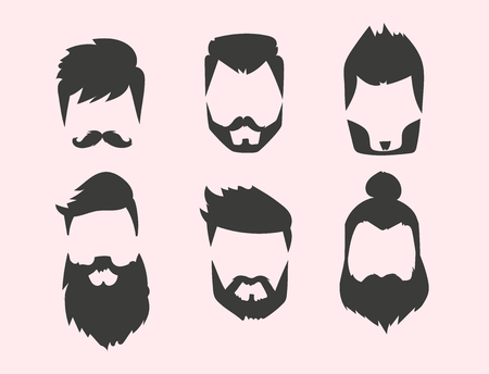 Set of hipster retro hair style mustache vintage old shave male facial beard haircut isolated illustration.