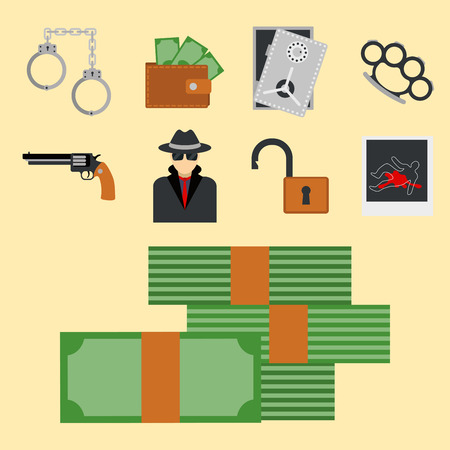 Crime icons protection law justice sign security police gun offence felony transgression. Stock Vector - 80860160