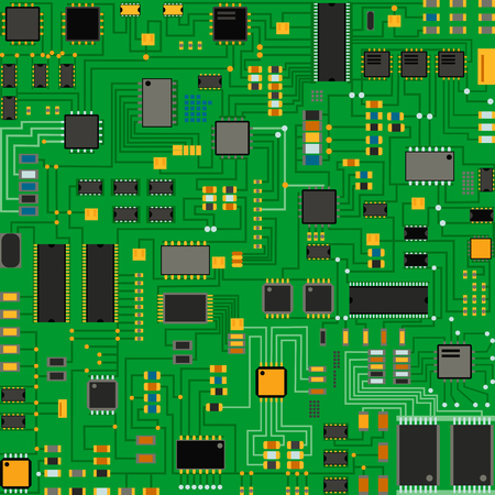 microprocessor: Computer chip technology processor circuit and motherboard information system illustration.