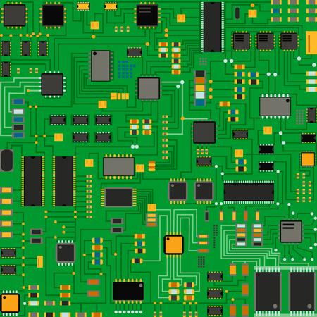 Obwód procesora technologii komputerowej i ilustracja systemu informacyjnego płyty głównej.