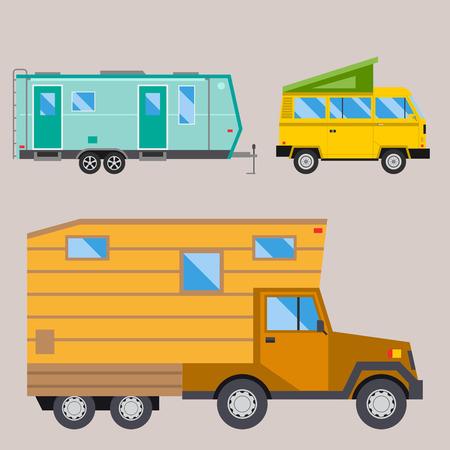 Campers vacation travel car summer nature holiday trailer house illustration. Illustration