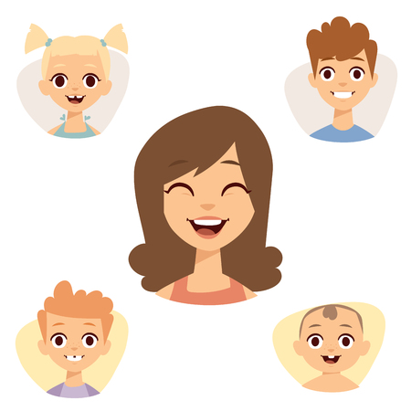 Set of beautiful smiling emoticons face of people fear avatars.