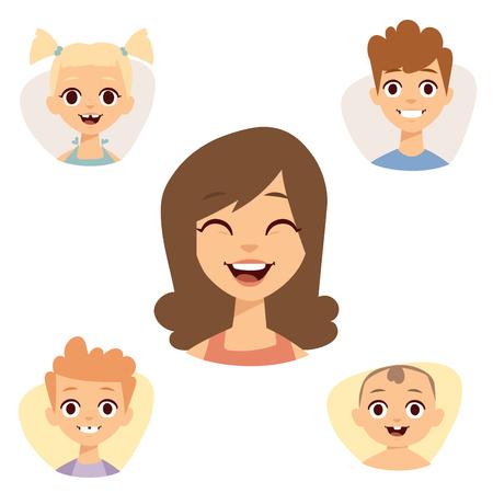 Un insieme di bei emoticon sorridenti faccia di gente teme avatar. Archivio Fotografico - 80860167