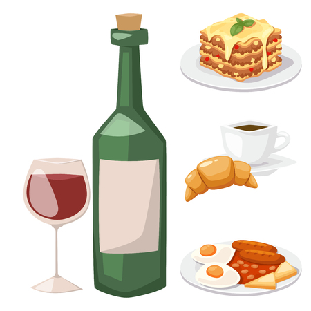 European tasty food and cuisine dinner food showing delicious elements flat illustration.