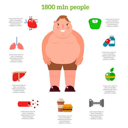 Lose weight by jogging elements and health care concept flat illustration.