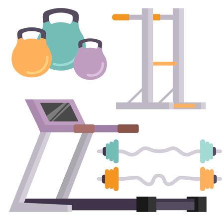 Fitness gym club pictogrammen. Stock Illustratie