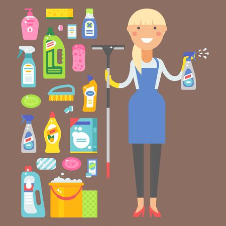 Hausarbeitsprodukt der Reinigungsmittelflasche und Frau pflegen die Plastikausrüstung, die flüssige flache Vektorillustration säubert. Haushaltsartikel für Hygieneartikel. Standard-Bild - 80882016