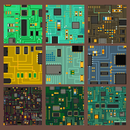 Computer chip technology processor circuit motherboard information system illustration. 向量圖像