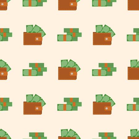 パターン ショッピングのお金と財布は富図ビジネス金融決済バッグとアクセサリー トレンディな現金を購入します。  イラスト・ベクター素材