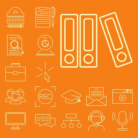 온라인 교육을위한 평면 디자인 아이콘 개요 비디오 자습서 직원 교육 도서 저장소 연구 지식 그림 학습. 일러스트