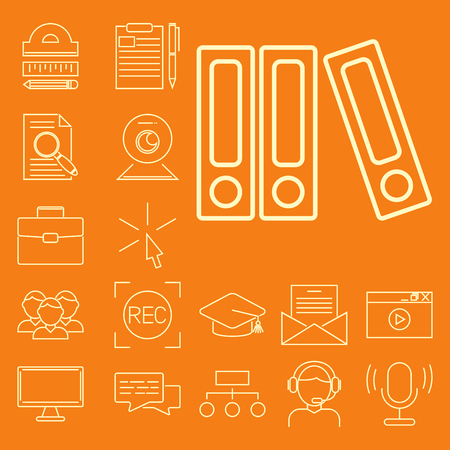Outline flat design icons for online education video tutorials staff training book store learning research knowledge illustration.