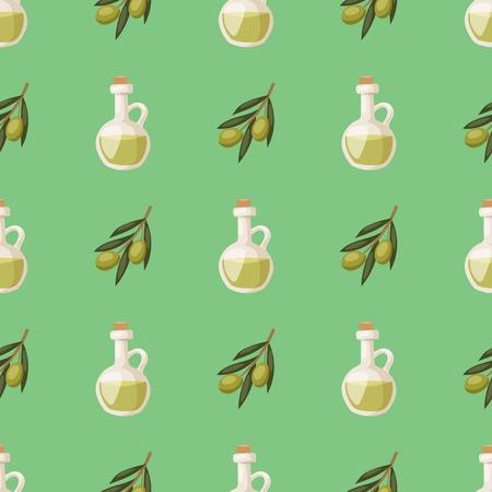 Glass bottle of premium virgin olive oil and some olives with leaves pattern illustration. Zdjęcie Seryjne - 80891102
