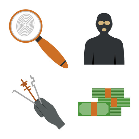 Crime icons protection law justice sign security police gun offence felony transgression flat illustration.