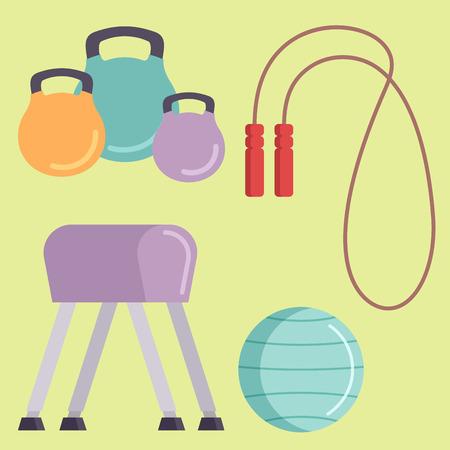 Fitness gym club iconen atleet en sport activiteit lichaamsgereedschap wellness dumbbell apparatuur.
