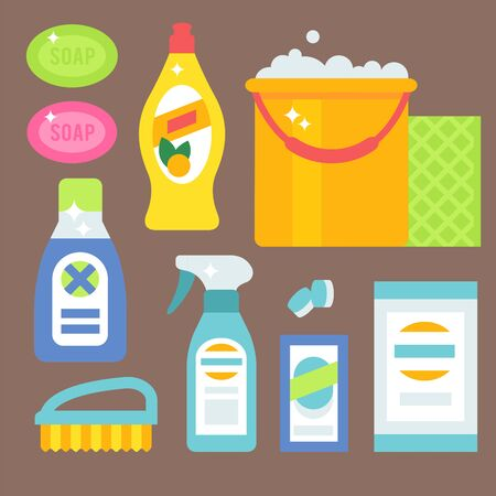Cleanser bottle chemical housework product care wash equipment cleaning liquid flat illustration.