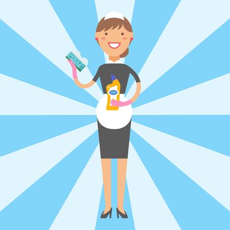 主婦女の子主婦美少女洗浄洗剤化学家事製品機器をクリーニングします。 写真素材 - 80922393