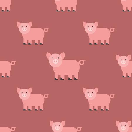 かわいいブタ漫画動物パターン哺乳類国内豚キャラ イラスト。  イラスト・ベクター素材