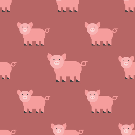 Cute pig cartoon animal pattern mammal domestic piglet character illustration.