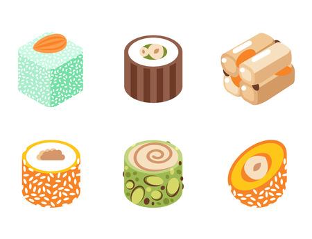 Het heerlijke die dessert van het oosten op witte van het de banketbakkerij eigengemaakte assortiment van het snoepjesvoedsel vectorillustratie wordt geïsoleerd Stock Illustratie