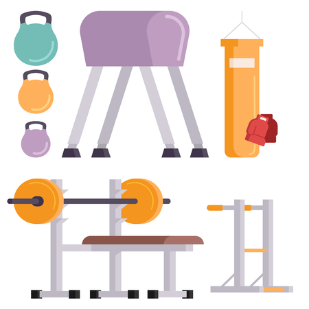 Iconos del vector del club del gimnasio de la aptitud. Herramientas deportivas y deportivas para el cuerpo. Foto de archivo - 80961606