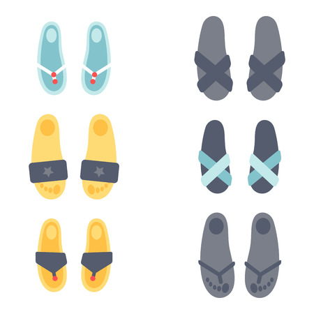 Flip flops design vector illustration graphic beach casual footwear slipper beauty relax shoe clothing.