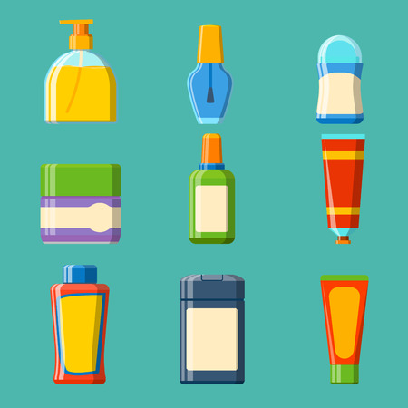 Bath plastic bottle shampoo lotion cream container icons made in modern shower flat style colorful illustration for bathroom vector hygiene design.