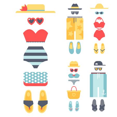休暇のライフ スタイルの女性コレクション海光美容服ベクトル図のビーチウェア ビキニ布ファッションに見えます。