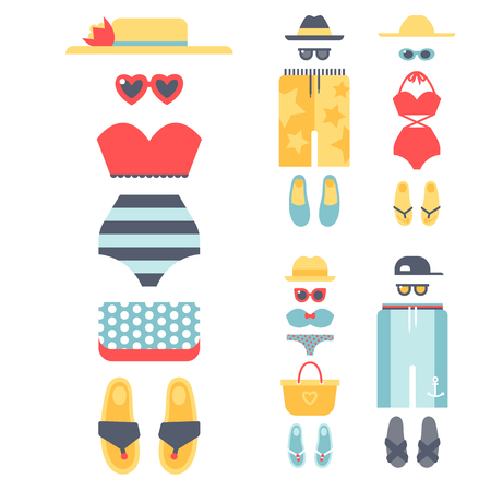 Beachwear bikini cloth fashion looks vacation lifestyle women collection sea light beauty clothes vector illustration.