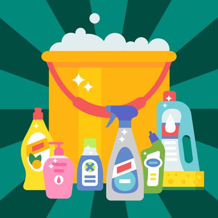 洗剤ボトル化学家事製品のお手入れ洗浄装置洗浄液図。
