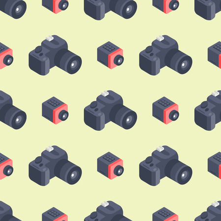 Camera isometric pattern instrument photography equipment art professional look illustration.