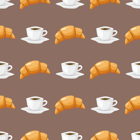 Coffee and croissant seamless pattern brown caffeine breakfast morning sweet drink vector illustration Illustration