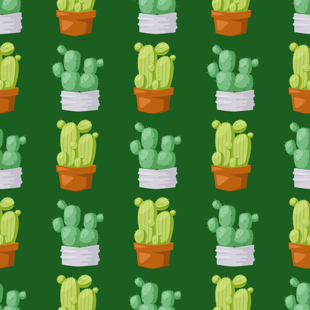 Cactus nature desert flower green mexican succulent tropical plant seamless pattern cacti floral vector illustration. Ilustração