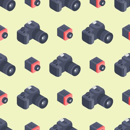 Photo camera isometric vector seamless pattern instrument photography equipment art logo professional look illustration. Digital technology electronic aperture device.