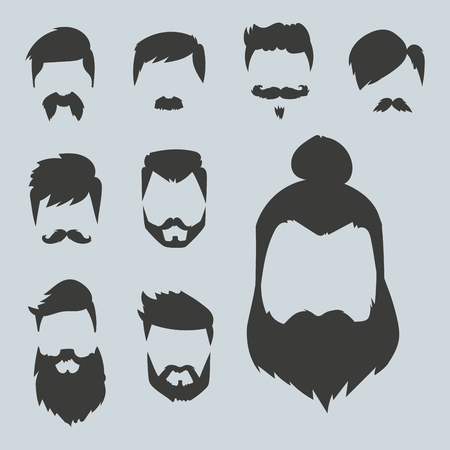 Vector set of hipster retro hair style mustache vintage old shave male facial beard haircut isolated illustration. Curly face collection fashion barber hairstyle design. Ilustração