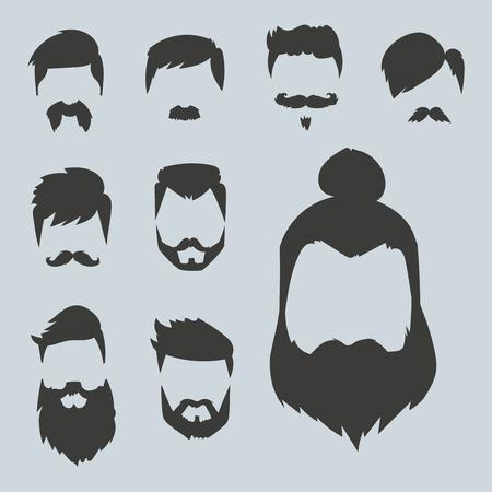 Vektor-Set von Hipster Retro-Haare Stil Schnurrbart Vintage alten Rasur männlichen Gesichts-Bart Haarschnitt isoliert Illustration. Gelockte Gesichtsansammlung Mode Friseur Frisur Design. Standard-Bild - 81010961