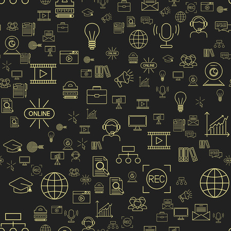 개요, 패턴, 온라인, 교육, 비디오, 자습서, 직원, 교육, 책, 저장, 연구, 지식, 일러스트 레이션, 인터넷 기술 거리 직업 서비스 웹 개념입니다.