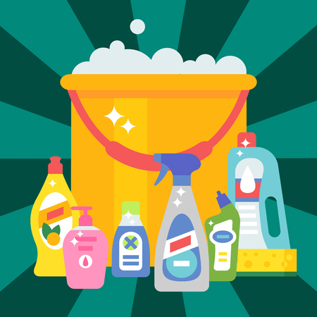 desinfectante: Cleanser bottle chemical housework product care wash equipment cleaning liquid flat vector illustration.