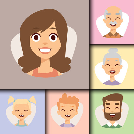 Vector set beautiful emoticons face of people smiling avatars happy characters illustration