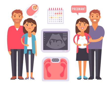 Onvruchtbaarheid zwangerschapsproblemen medische zwangerschap vector tekens behandeling bevruchtingsprocessen infographic tools