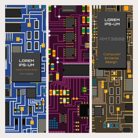 Computer chip technology processor circuit motherboard information system vector illustration Ilustracja
