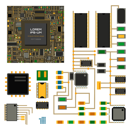 Computer chip technology processor circuit motherboard information system vector illustration Çizim